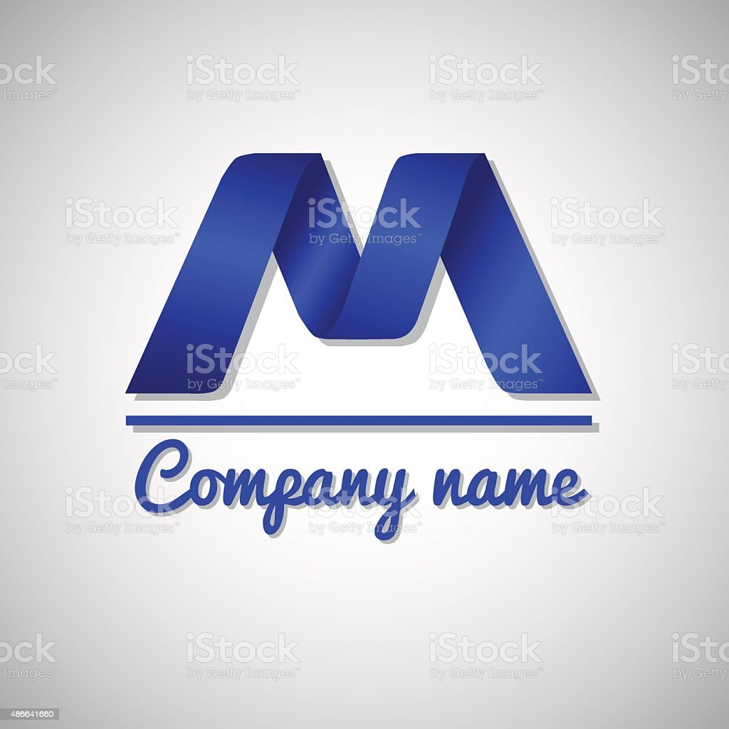 Icon Niebieski Papier Biznes Ikona Logo Z Literą M Stockowa