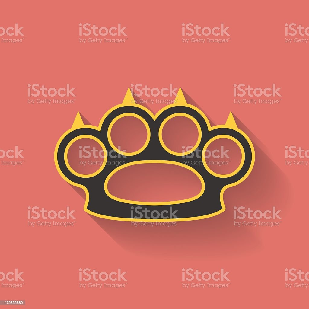 Icon of brass knuckles or knuckle duster. Flat style vector art illustration