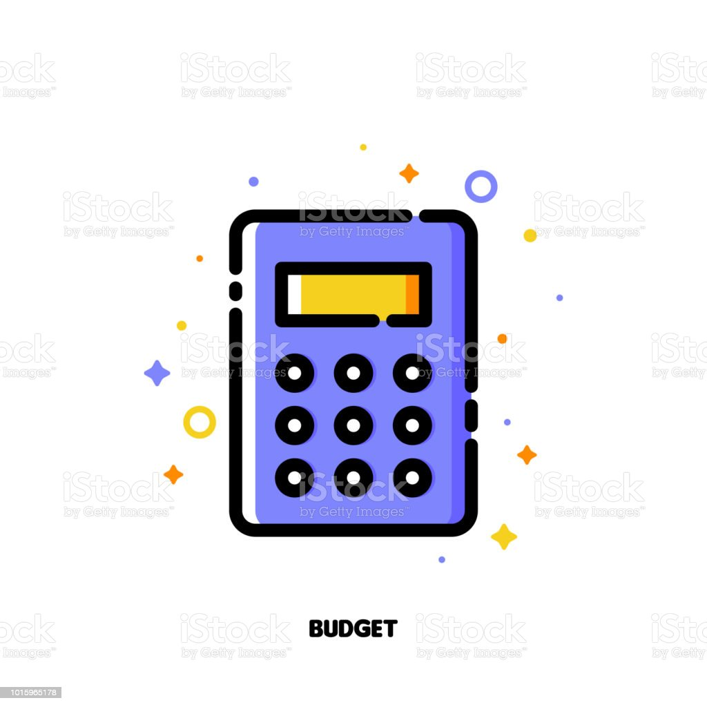 Icon Of Calculator For Business Budget Concept Flat Filled
