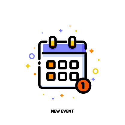 Icon of calendar for new event concept. Flat filled outline style. Pixel perfect 64x64. Editable stroke