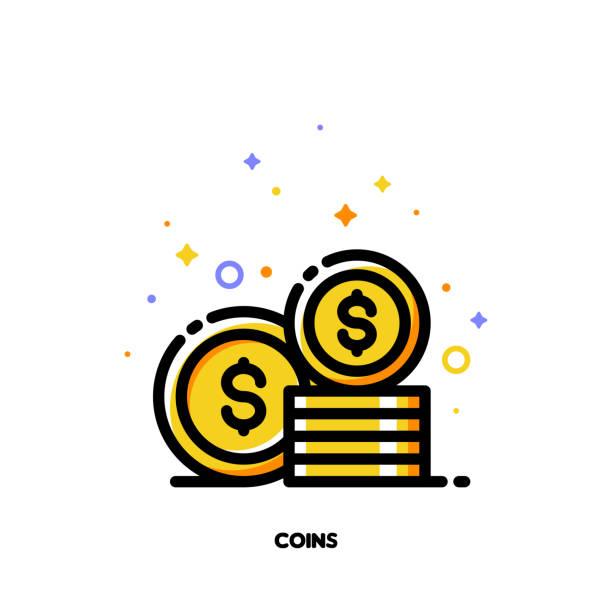 돈 개념에 대 한 동전 스택의 아이콘입니다. 플랫 채워진된 개요 스타일입니다. 픽셀 완벽 64 x 64. 편집 가능한 스트로크 - 토큰 stock illustrations
