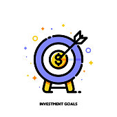 Icon of dartboard with arrow for business target or investment goals concept. Flat filled outline style. Pixel perfect 64x64. Editable stroke