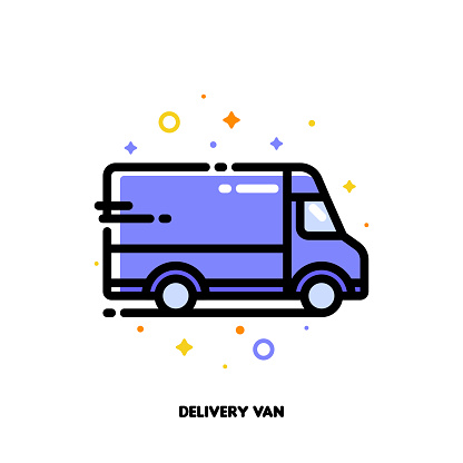 Icon of delivery van which symbolizes local delivery service or fast shipping for shopping and retail concept. Flat filled outline style. Pixel perfect 64x64. Editable stroke