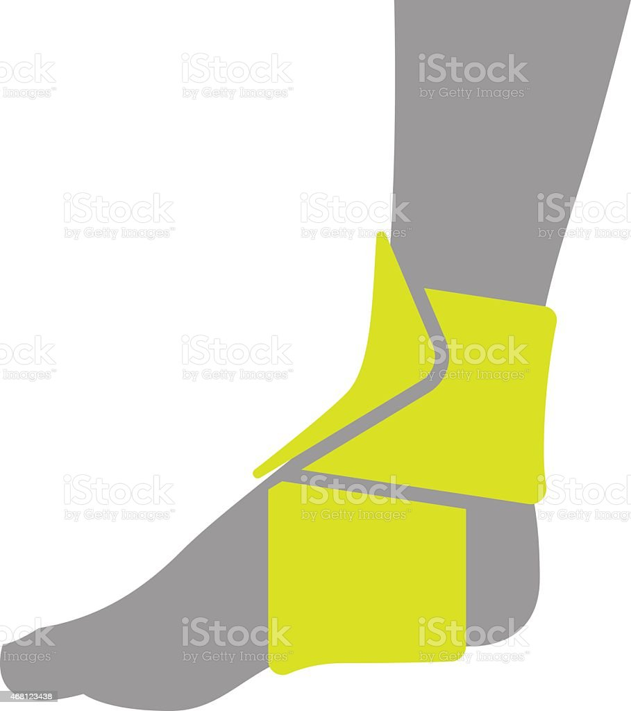 Icon of Elastic Orthopedic Compression Bandage for Ankle Isolated on vector art illustration