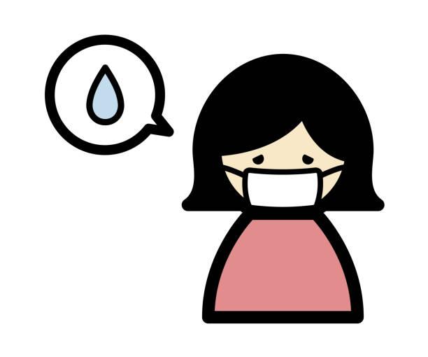 発熱のアイコン - マスク 日本人点のイラスト素材/クリップアート素材/マンガ素材/アイコン素材