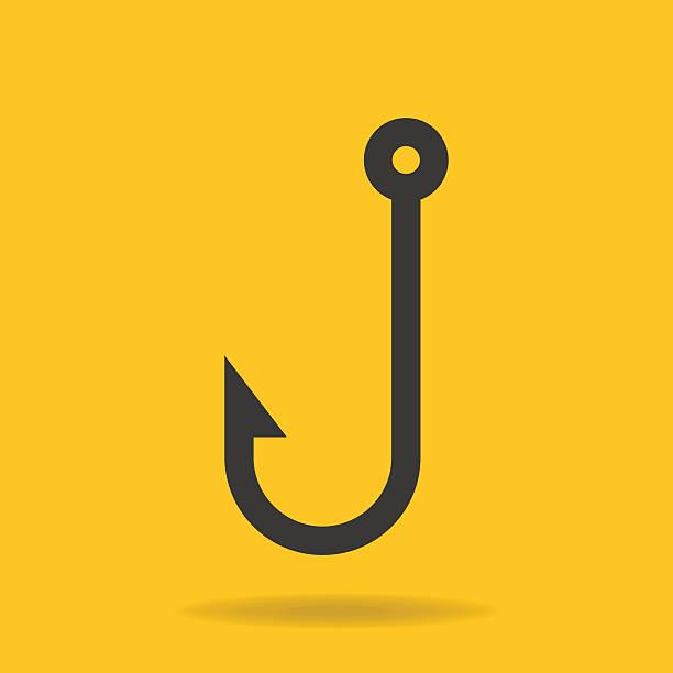 symbol der fishing hook - angelhaken stock-grafiken, -clipart, -cartoons und -symbole