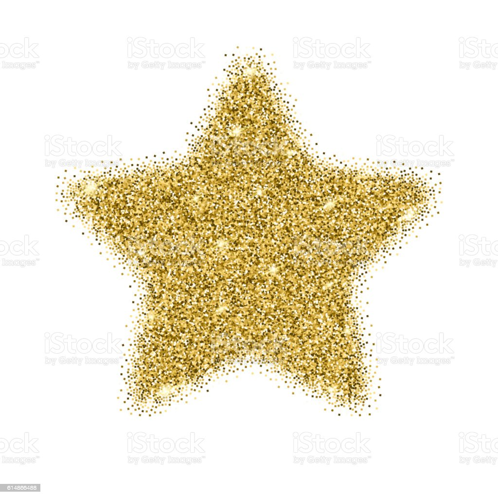 Icon of fivepointed star with gold sparkles and glitter