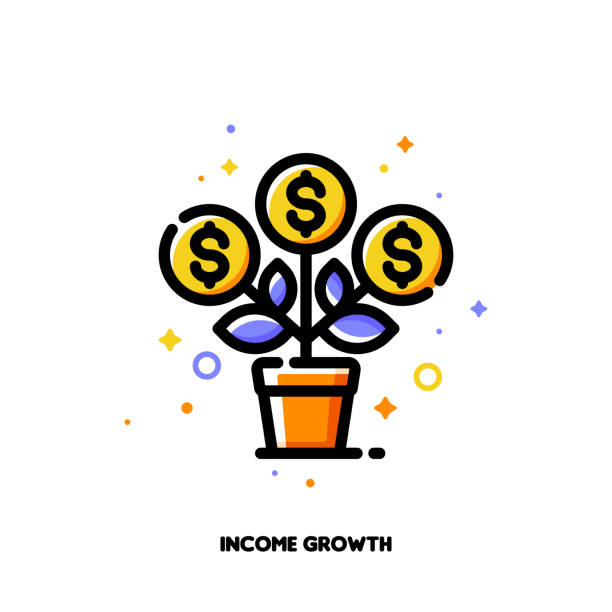 Icon of flourishing money tree with dollar signs for financial value steady growth or revenue increase concept. Flat filled outline style. Pixel perfect 64x64. Editable stroke Icon of flourishing money tree with dollar signs for financial value steady growth or revenue increase concept. Flat filled outline style. Pixel perfect 64x64. Editable stroke money tree stock illustrations