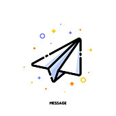 Icon of flying paper plane which symbolizes text message for help and support concept. Flat filled outline style. Pixel perfect 64x64. Editable stroke