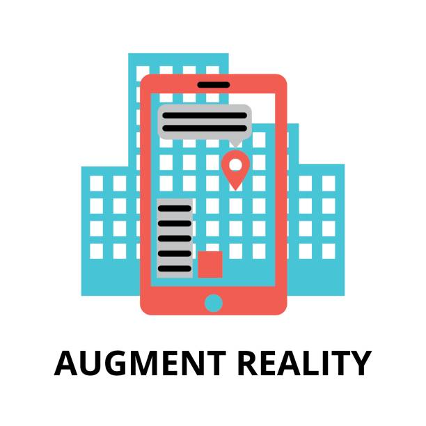 Icon of future technology - augment reality Modern flat editable vector line icon of future technology - augment reality, for graphic and web design augmented reality sustainable stock illustrations