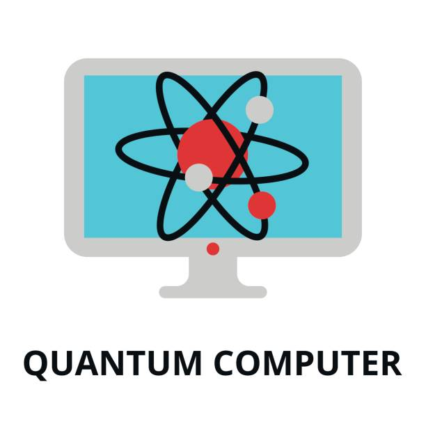 Icon of future technology - quantum computer Modern flat editable vector line icon of future technology - quantum computer, for graphic and web design augmented reality sustainable stock illustrations