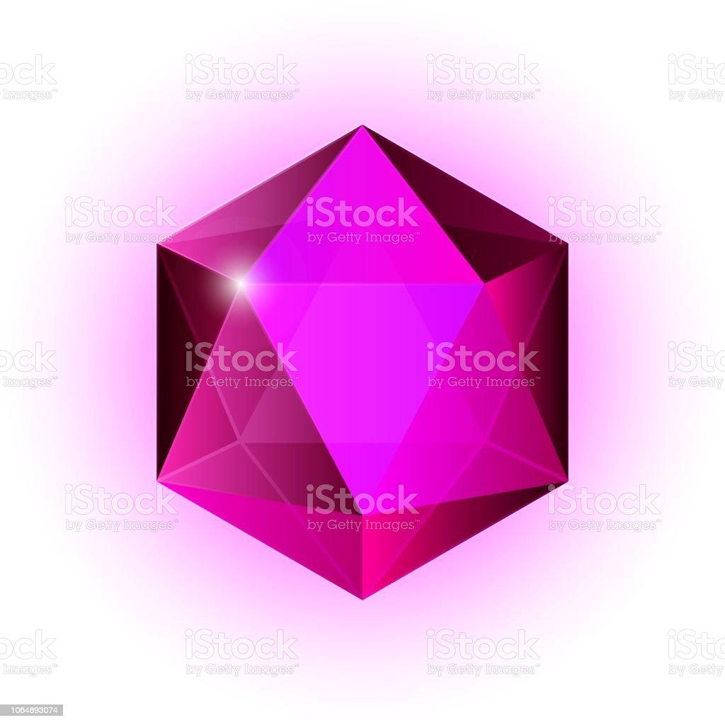 Icono de la joya, brillante cristal, tallada de piedra - ilustración de arte vectorial