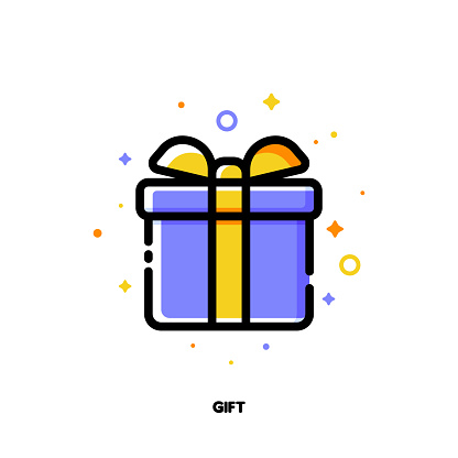 Icon of gift box which symbolizes delightful present or wonderful surprise for money-saving shopping concept. Flat filled outline style. Pixel perfect 64x64. Editable stroke