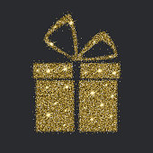Icon of Gift box with gold sparkles and glitter, glow light confetti, bright sequins, sparkle tinsel, shimmer dust. Gift box sign isolated on dark background