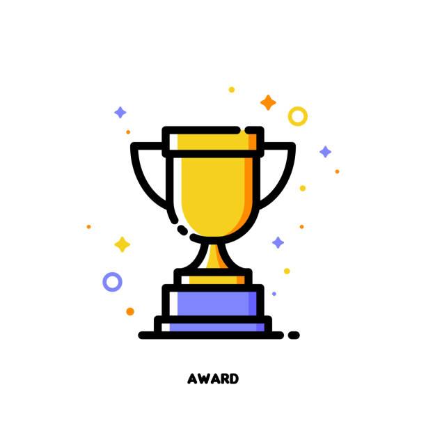 simge altın kupa kupası için iş kavramı ödülleri. düz dolgulu anahat stili. piksel 64 x 64 mükemmel. düzenlenebilir kontur - kupa ödül stock illustrations