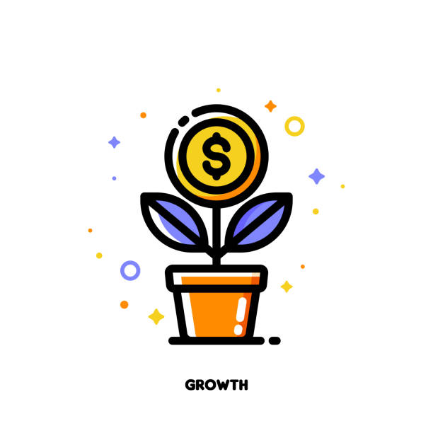 Icon of growing money tree with dollar coin for financial growth concept. Flat filled outline style. Pixel perfect 64x64. Editable stroke Icon of growing money tree with dollar coin for financial growth concept. Flat filled outline style. Pixel perfect 64x64. Editable stroke money tree stock illustrations