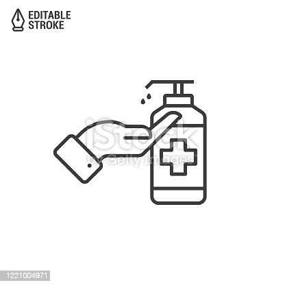 Icon Of Hand Disinfection Using A Sanitizer Gel. Bottle With Sanitizer Isolated On White Background. Concept Of Antibacterial Gel. Outline Vector Icon With Editable Strokes
