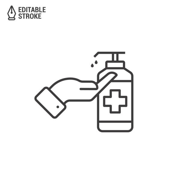 Icon Of Hand Disinfection Using A Sanitizer Gel. Bottle With Sanitizer Isolated On White Background. Concept Of Antibacterial Gel. Outline Vector Icon With Editable Strokes Icon Of Hand Disinfection Using A Sanitizer Gel. Bottle With Sanitizer Isolated On White Background. Concept Of Antibacterial Gel. Outline Vector Icon With Editable Strokes alcohol drink icons stock illustrations