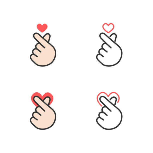 icon of hand making small heart, i love you or mini heart sign isolated on white background, vector illustration - palec stock illustrations