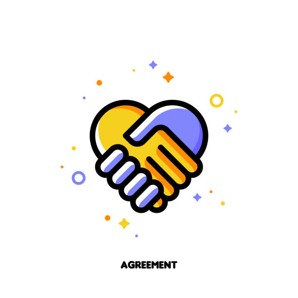Icon of handshake as agreement symbol for law and justice concept. Flat filled outline style. Pixel perfect 64x64. Editable stroke Icon of handshake as agreement symbol for law and justice concept. Flat filled outline style. Pixel perfect 64x64. Editable stroke dignity stock illustrations