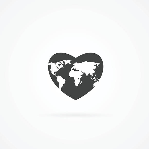 Icon of heart with map inside. vector art illustration