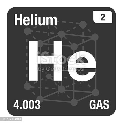 Vector Icon of Helium Periodic Table of Elements with Crystal System Background
