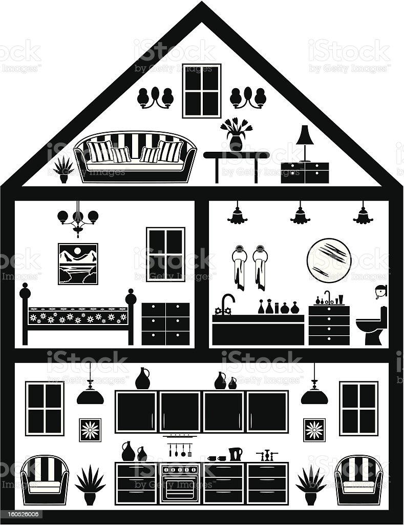 Icon of house with planning royalty-free stock vector art