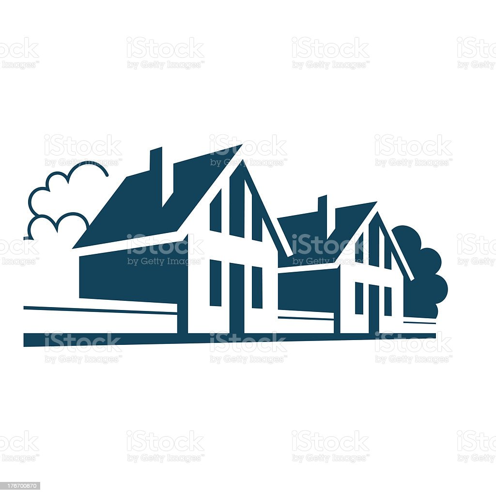 Icon of houses in the village royalty-free stock vector art