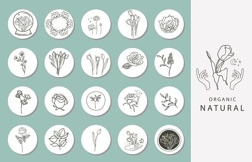 Icon of instagram highlight cover with flower, hand, eye for social media