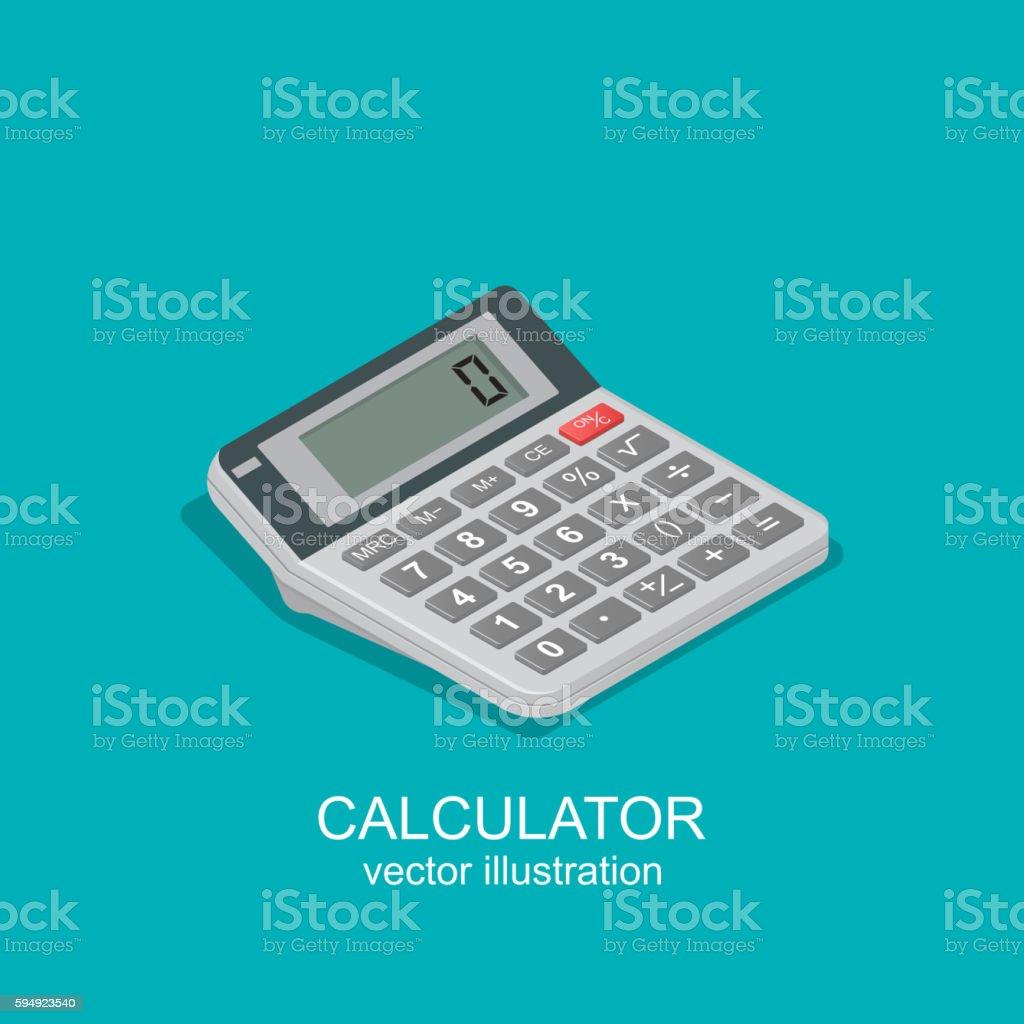 Icon of isometric calculator vector art illustration