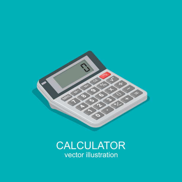 icon of isometric calculator - rechenmaschine stock-grafiken, -clipart, -cartoons und -symbole