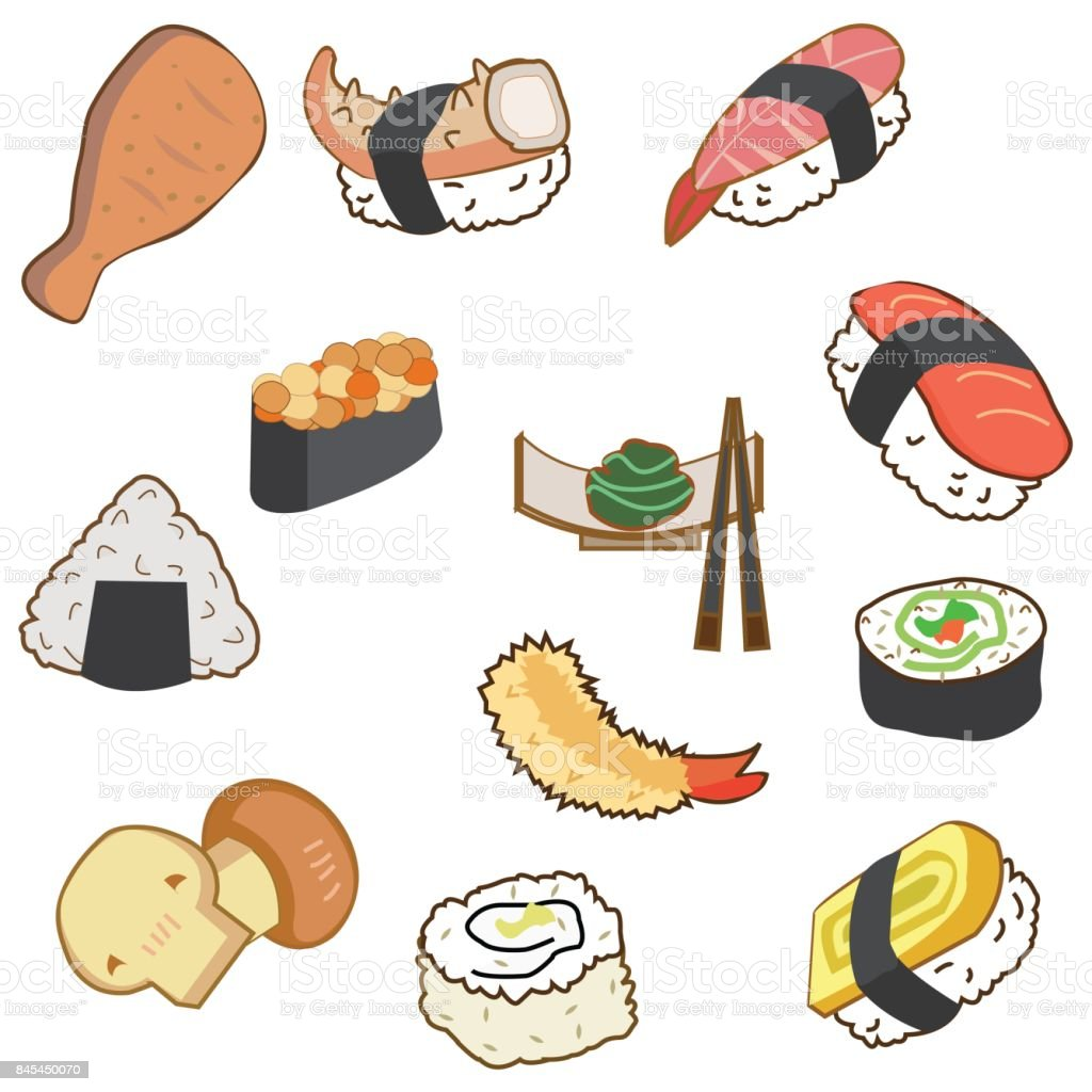 Icon Of Japan Food And Sushi In Cartoon Style On Blue
