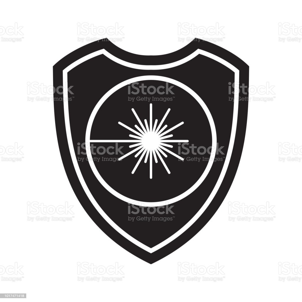 Icon Of Laser Radiation Shield Defense Protection Or Safety Symbol