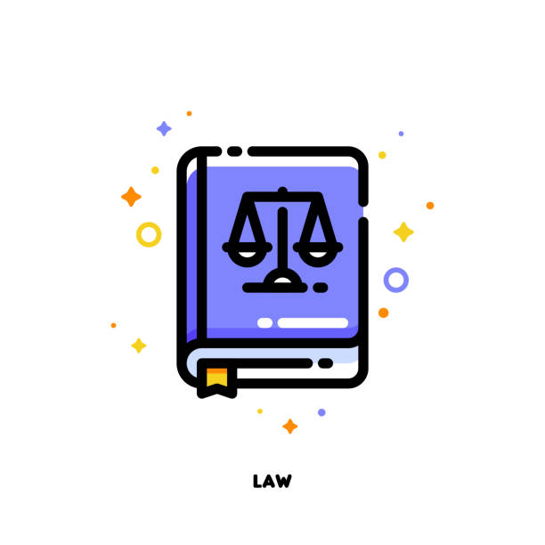 icon of law book for justice concept. flat filled outline style. pixel perfect 64x64. editable stroke - paralegal stock illustrations, clip art, cartoons, & icons