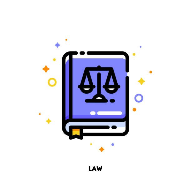 Icône du livre de la loi pour la notion de justice. Style de contour rempli plat. Pixel perfect 64 x 64. Accident vasculaire cérébral modifiable - Illustration vectorielle
