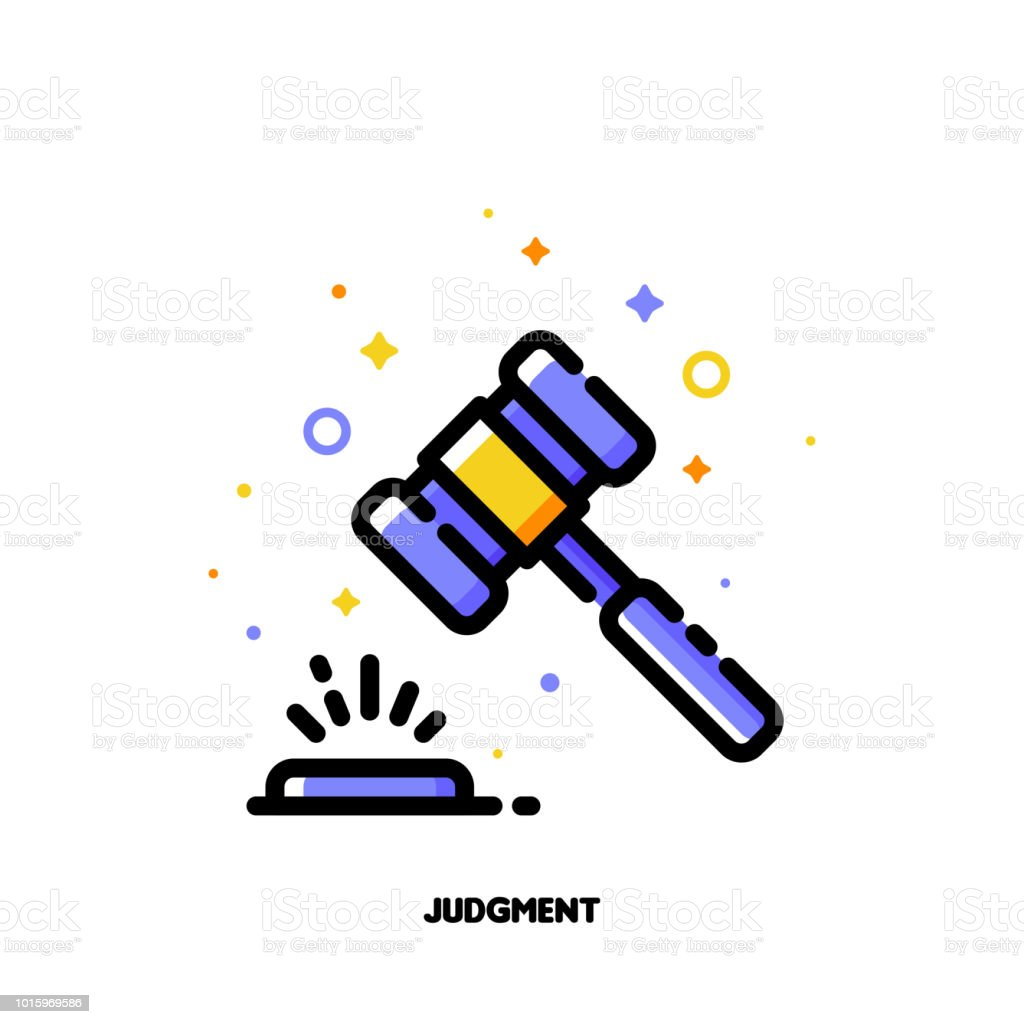 Icon of law hammer or wooden judge gavel for judgment concept. Flat filled outline style. Pixel perfect 64x64. Editable stroke vector art illustration