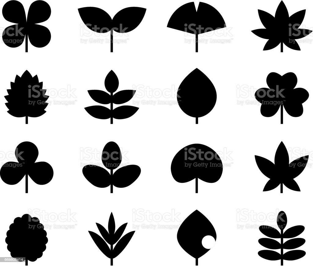 Icon of leaves vector art illustration