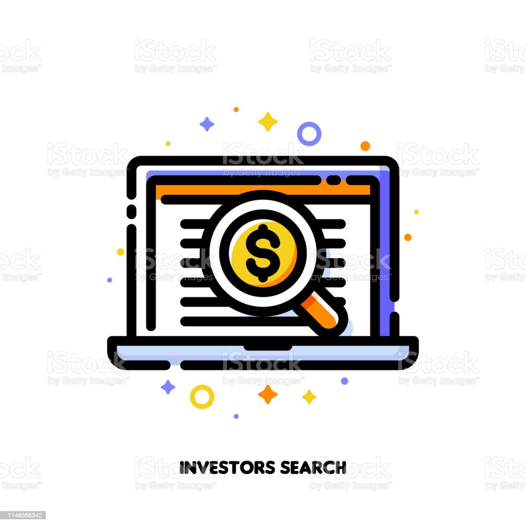 Icon Of Magnifying Glass And Investors List For Business