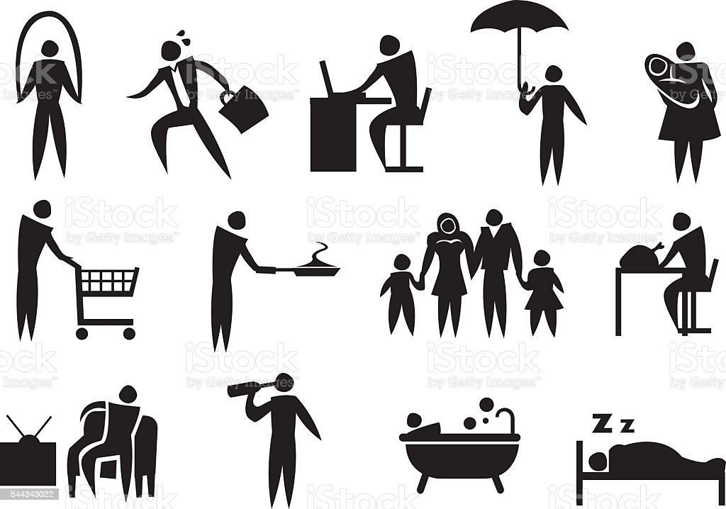 Icon of man doing his daily routine.