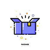 Icon of open carton package box which symbolizes delivered parcel for shopping and retail concept. Flat filled outline style. Pixel perfect 64x64. Editable stroke