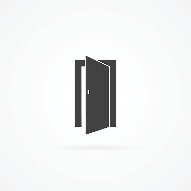Icon of open door. vector art illustration