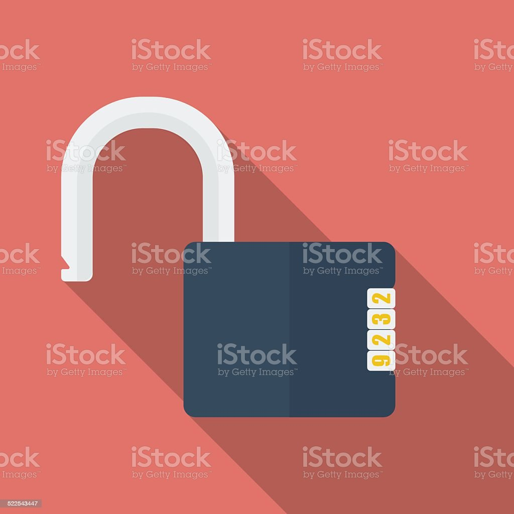 Icon of Padlock with code combination. Modern trendy flat style vector art illustration