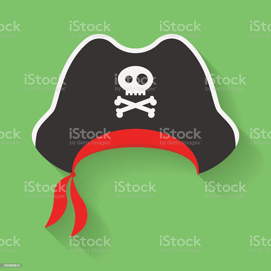 Icon of Pirate Hat with a Jolly Roger symbol. vector art illustration