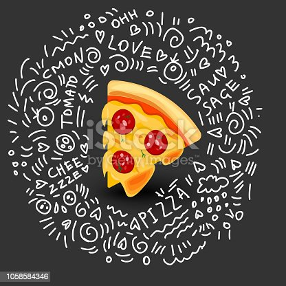 Icon of Pizza with Sausage. Vector Illustration of Slice of Pizza in Cartoon Style. Isolated Icon on black background. Concept of Tasty Fresh Fast Food. Fragrant Snack with Melted Cheese and Sausage on Fluffy Dough.