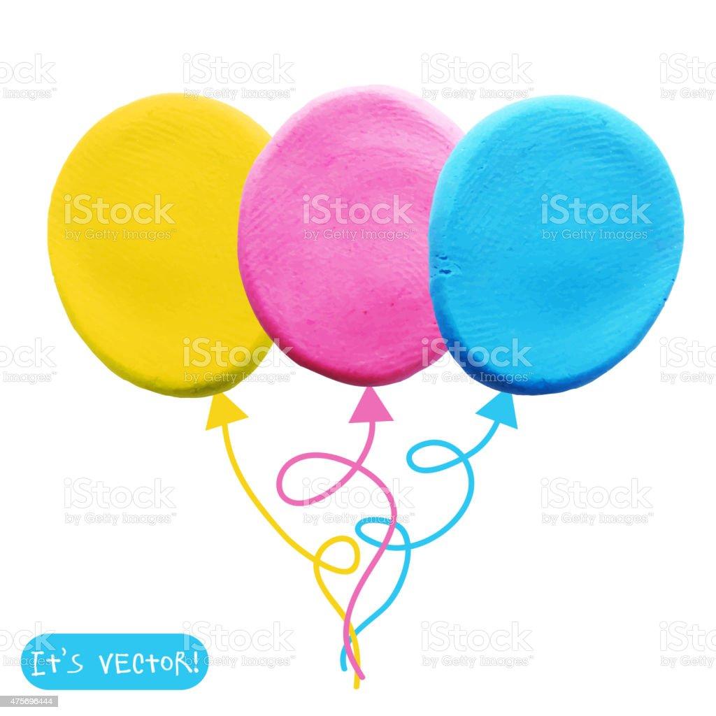 Icon of plasticine balloon vector art illustration
