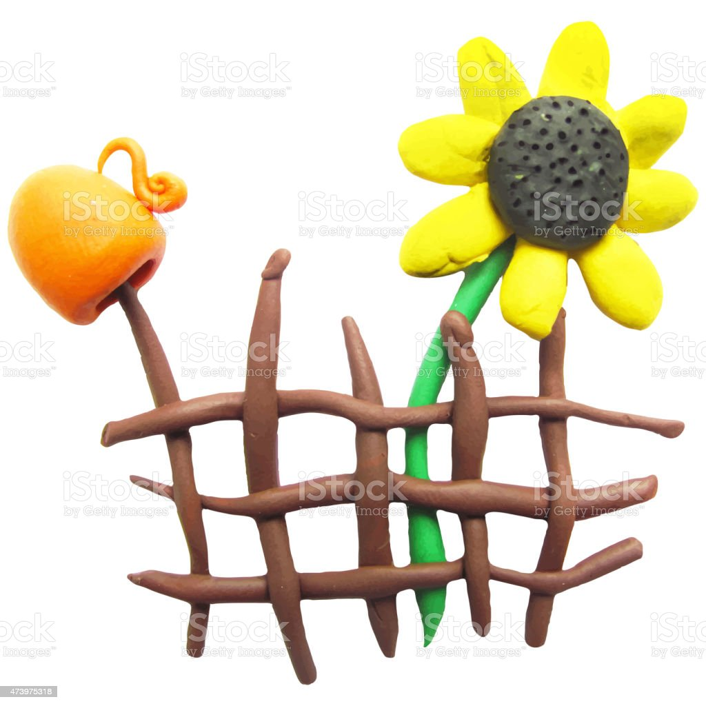 Icon of plasticine fence, pitcher and sunflower vector art illustration