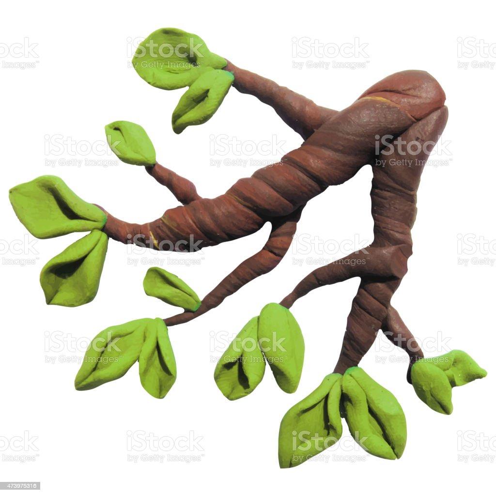 Icon of plasticine tree branch vector art illustration