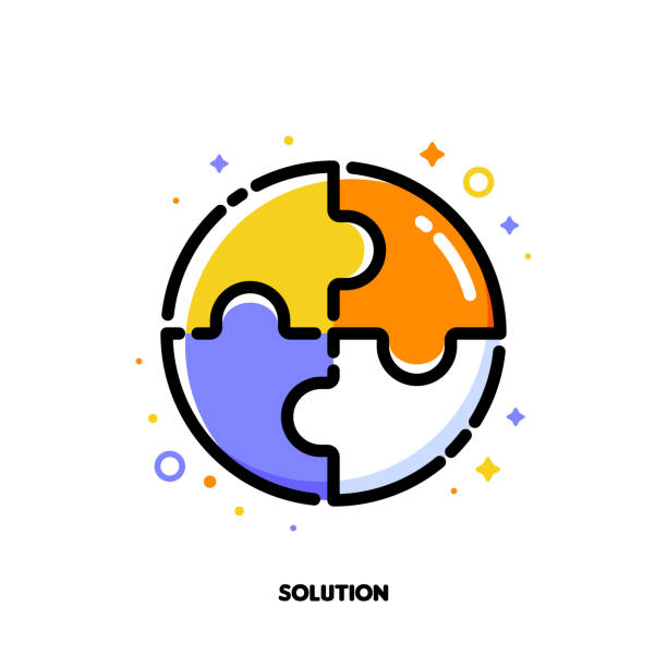 ilustrações de stock, clip art, desenhos animados e ícones de icon of puzzle for business solution concept. flat filled outline style. pixel perfect 64x64. editable stroke - inteiro