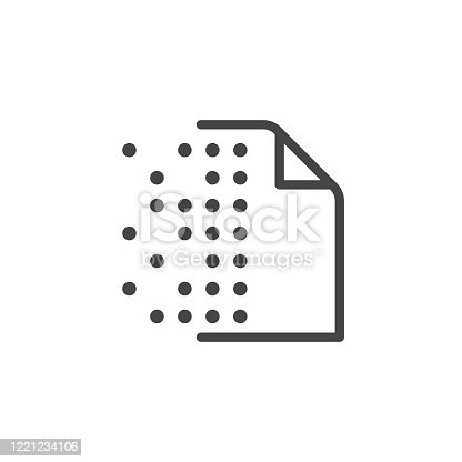 Icon of Replicated Distributed Database series. Dotted cryptography page. Information interchange, smart contract concept label. Symbol for blockchain theme. Vector illustrated isolated