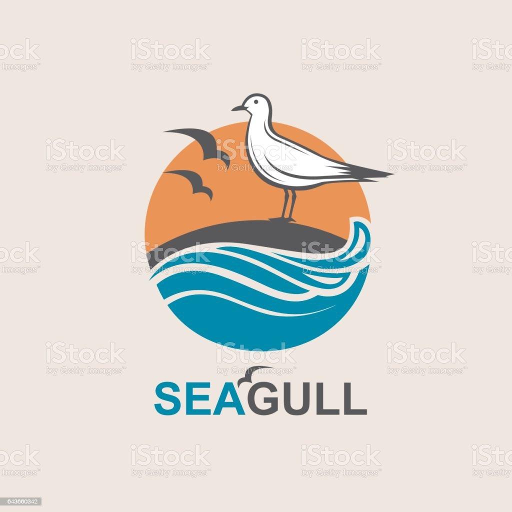 icon of seagull vector art illustration